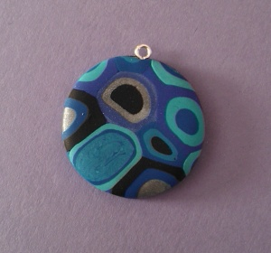 blue fimo pendant