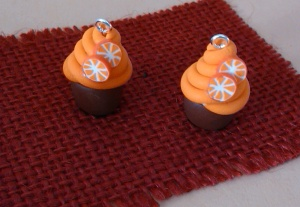 orange cupcake earrings