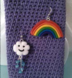 rainy cloud and rainbow earrings
