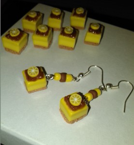 polymer lemon cake charms