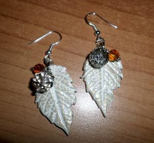 polymer leave earrings